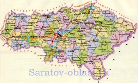 Карта саратовской области подробная